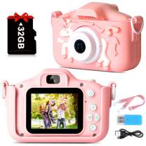 1080P Kids Camera, Unicorn Toddler Camera For Birthday Festival Gift, Digital Multi-Functional Child Camera with 2 Inch Screen 20MP 32GB Card Toys for 3 5 8 10 Years Old Girls Boy [Upgraded Version]