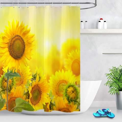 5 Sizes Sunflower Waterproof Shower Curtain Bathroom Wall Hangings Decor w//Hooks