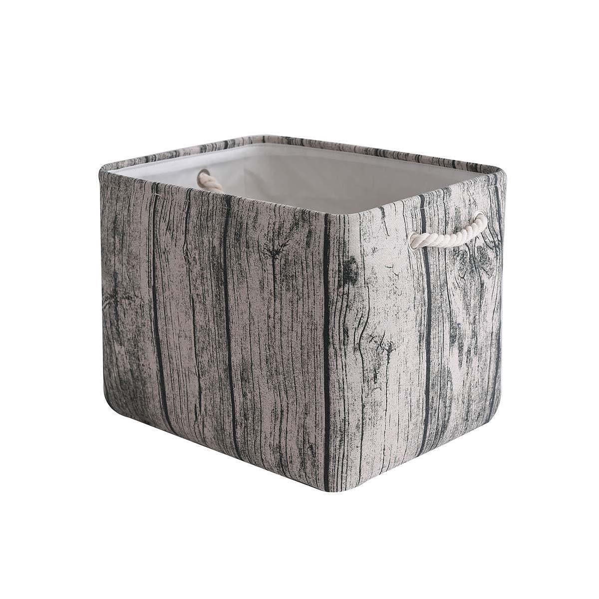 TcaFmac Storage Basket, Canvas Storage Bin, Basket for Storage, Decorative Basket, Dog Toy Basket with Handles, Empty Gift Basket for Baby Storage, Basket for Shelves 16(L) x 12(W) x 12(H) inch