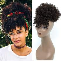 Synthetic Afro Puff Drawstring Ponytail With Bangs Short Kinky Curly Hair Bun Extension Donut Chignon Hairpieces Wig Updo Hair Extensions with Two Clips (2#)