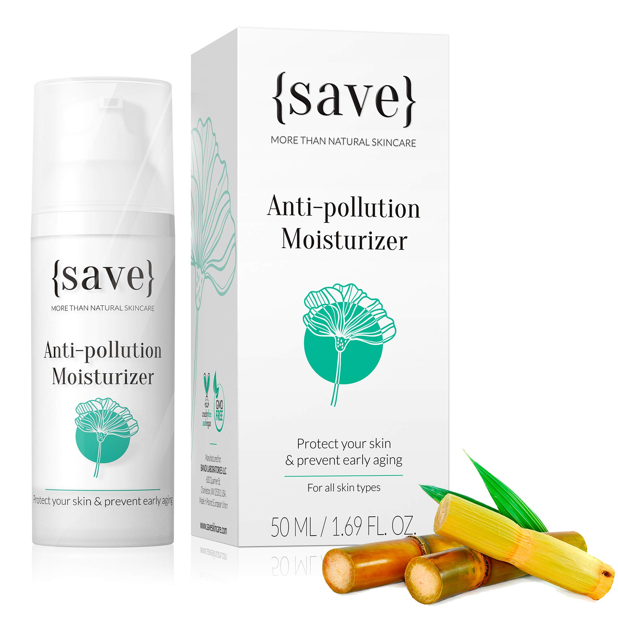 Anti-Aging Face Cream with Anti-Pollution Protection Against Skin Damage Natural Moisturizer for Sensitive Face Skin Fragrance Free 1.69 fl. oz.