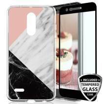TJS Phone Case for LG K40/K12 Plus/X4/Solo LTE/Harmony 3/Xpression Plus 2, with [Full Coverage Tempered Glass Screen Protector] TPU Matte Color Marble Transparent Clear Soft Skin (Pink/White/Black)