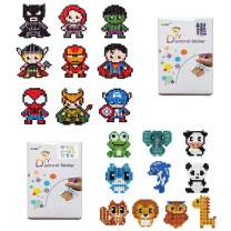 XUBX 5D DIY Diamond Painting Kits for Kids, Mosaic Sticker by Numbers Kits Arts and Crafts Set for Children (Hero and Animals)
