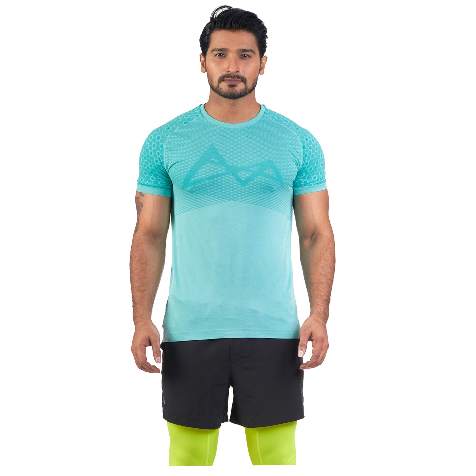 Turaag Men's Seamless Short Sleeve T-Shirt for Running, Training & Gym