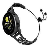 TiMOVO Band Compatible with Galaxy Watch Active/Active 2/Galaxy Watch 42/Gear S2 Classic, Premium Stainless Steel Replacement Strap Metal Wristband with Unique Plum Pattern - Black