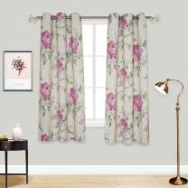 BUHUA Printed Light Blocking Floral Window Curtains for Sliding Glass Door, 2 Panels, 38Wx54L, Beige and Light Burgundy