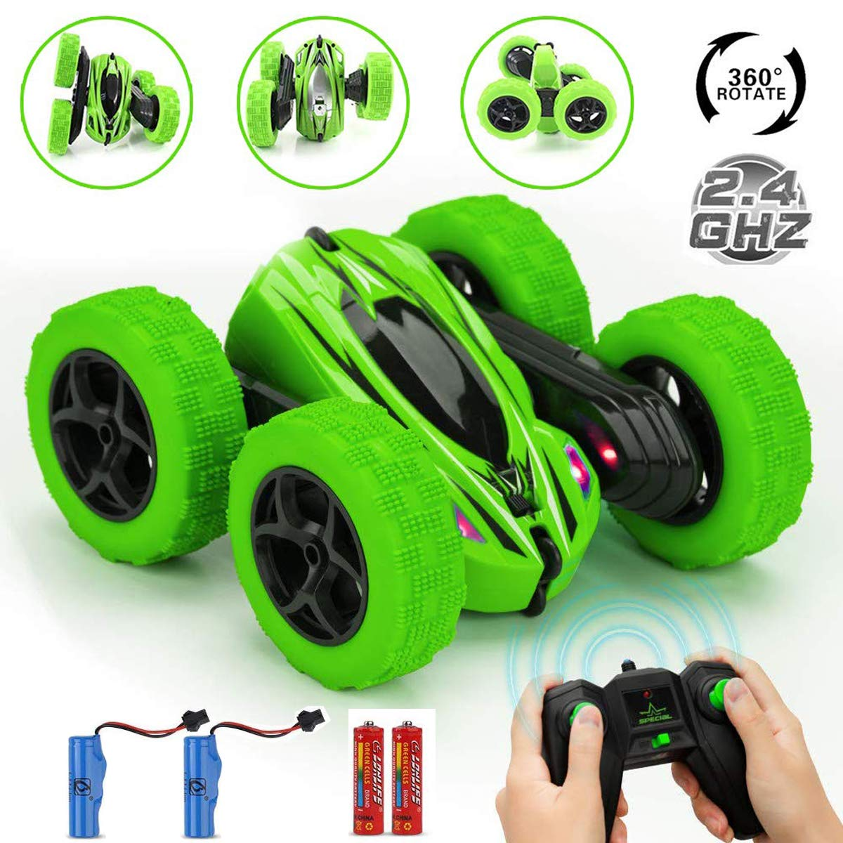 ECIEL RC Remote Control Car, Durable RC Stunt Cars Toys for Kids, Double Sided Rotating 360°Flips Cars -2.4GHz High Speed Off Road Vehicles for 3-12 Years Old Boy (4 Batteries Included)