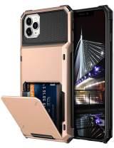 Vofolen Case for iPhone 11 Pro Max Case Wallet Enlarged Card Slot Holder Flip Door Hidden Pocket Rugged Hybrid Bumper Armor Protective Hard Shell Back Cover for iPhone 11 Pro Max 6.5 inch Rose Gold