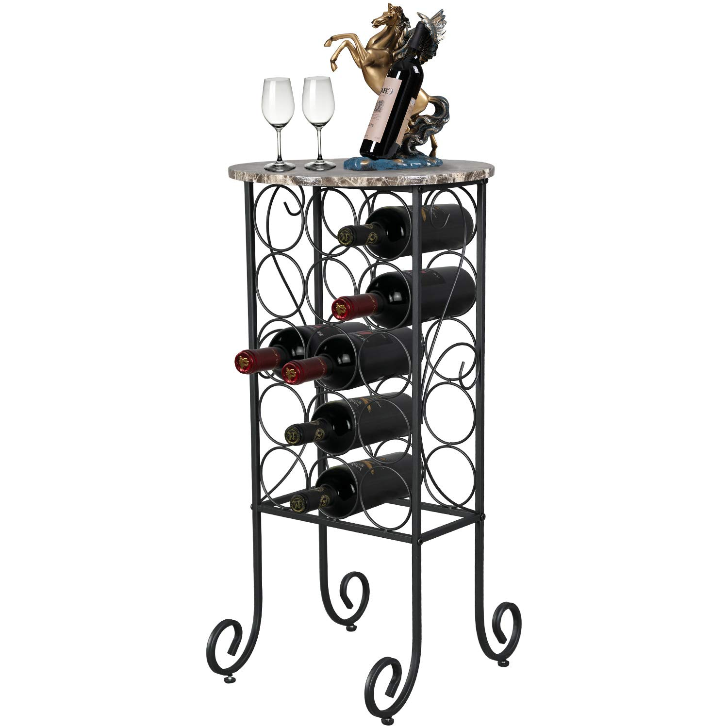 Petiture Wine Rack Table with Marble Finish Top, Wine Rack Freestanding Floor Bottles Bar Storage & Display Holder, Holds 15 Bottles Wine, Wine Rack to Compliment Any Space (Wine Stand - 15 Bottles).