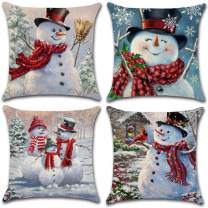 XIECCX Christmas Throw Pillow Covers 18x18 Set of 4 Outdoor Pillowcases Winter Snowman Home Decorative Pillows for Couch Sofa Bed Breathable Linen with Hidden Zipper