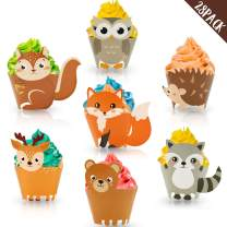 Yaaaaasss! 28PCS Woodland Animal Cupcake Wrappers Woodland Theme Decoration for Baby Shower Kids Birthday Party Supplies