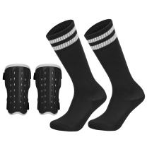 Soccer Shin Pad Over Knee Soccer Socks 2 Pairs Kids Leg Carf Protective Shin Pads Adjustable Perforated Breathable Guard Board and Impact Resistant Youth Kids Soccer Guards Socks