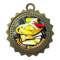Express Medals Large 3 Inch Perfect Attendance Gold Medal with Neck Ribbon Award Trophy Plaque Gift Prize