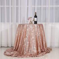 """PartyDelight 70"""" inch Rose Gold Sequin Tablecloth Round, Wedding, Dessert, Party, Banquet"""