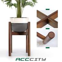 AccCity Up to 10 Inch Planter Plant Stand Display Wood Flower Pot Mid Century Holder Potted Rack Rustic Décor (Plant NOT Included), Dark Brown