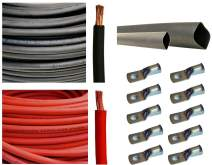 "WNI 2 AWG 2 Gauge 25 Feet Black + 25 Feet Red Battery Welding Pure Copper Ultra Flexible Cable + 5pcs of 5/16"" & 5pcs 3/8"" Copper Cable Lug Terminal Connectors + 3 Feet Heat Shrink Tubing"