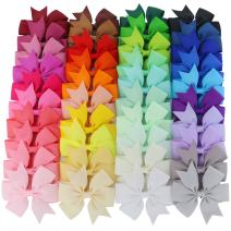 Mybigqueen 40Pcs 3'' Baby Hair Bows For Girls Grosgrain Boutique bow Clips For Teens Toddlers Kids Children infants