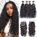 Maxine Wet and Wavy Hair 3 Bundles with Closure 9A Unprocessed Virgin Human Hair Water Wave with Lace Closure Three Part 100% Human Hair Bundles Extensions with Baby Hair (14 16 18+12, Natural color)