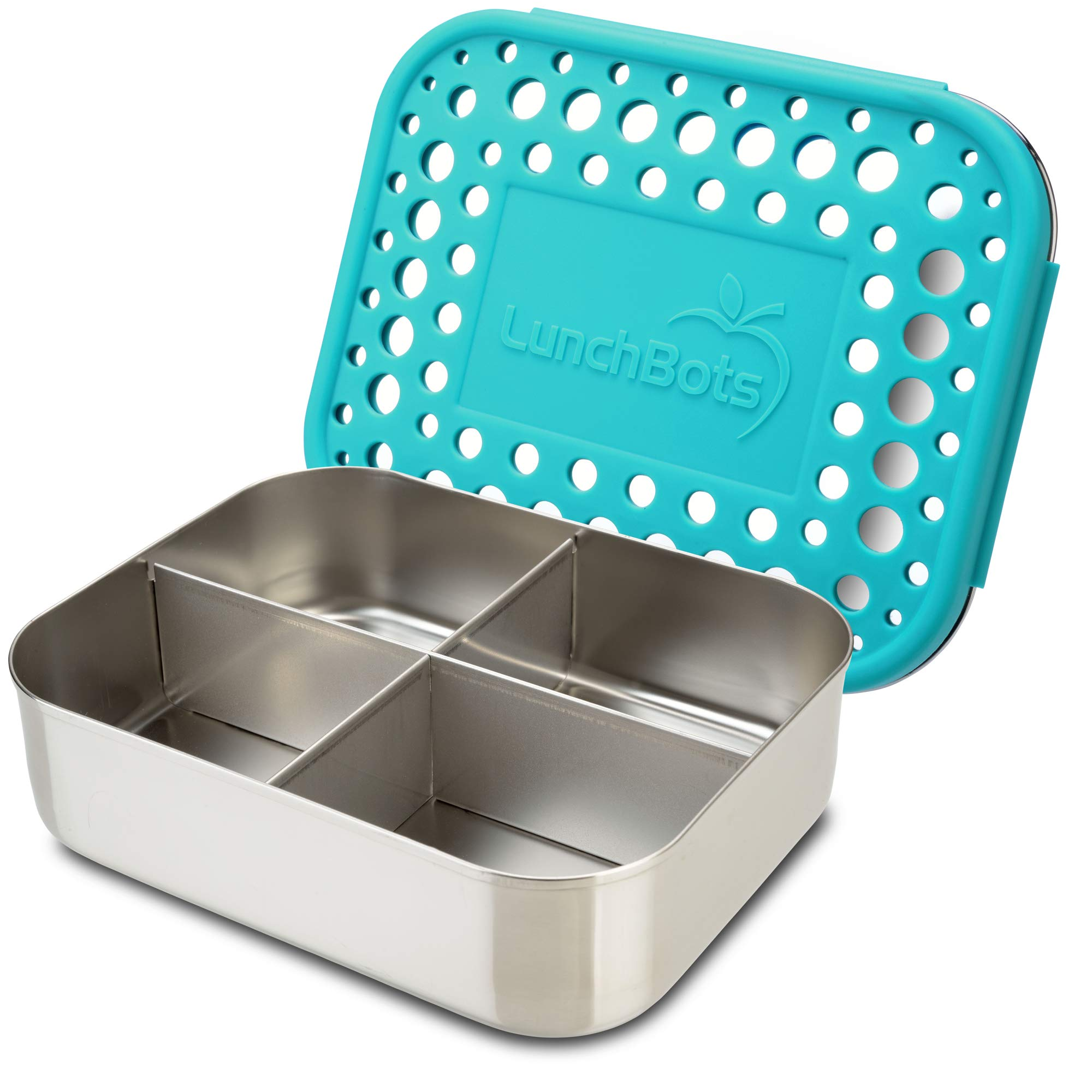 LunchBots Medium Quad Snack Container - Divided Stainless Steel Food Container - Four Sections for Finger Foods On the Go - Eco-Friendly, Dishwasher Safe - Stainless Lid - Aqua Dots