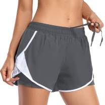 REKITA Womens Running Shorts with Liner Athletic Shorts with Pockets Workout Shorts