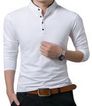 KUYIGO Men's Casual Slim Fit Shirts Pure Color Long Sleeve Polo Fashion T-Shirts