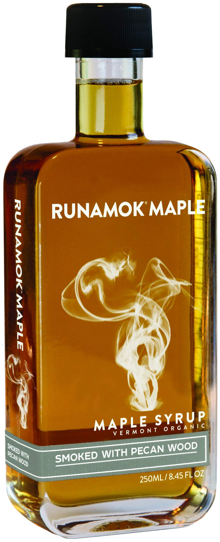 Runamok Maple Pecan Wood Smoked Maple Syrup - Authentic & Real Vermont Maple Syrup | Strong Flavor | Great for BBQ, Broiled Salmon, Vinaigrettes & Cocktails | 8.45 Fl Oz (250mL)