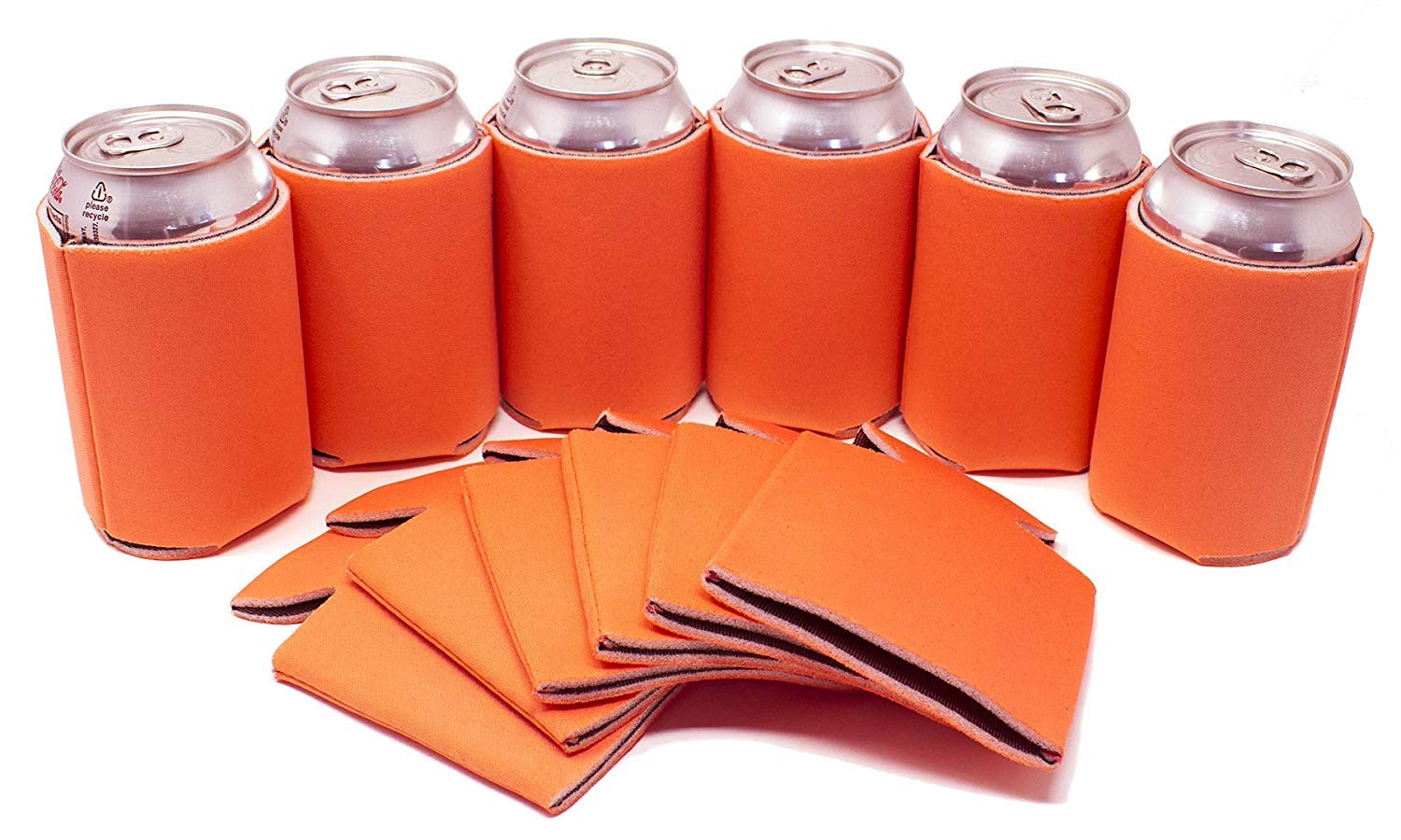 TahoeBay 25 Blank Beer Can Coolers, Plain Bulk Collapsible Soda Cover Coolies, DIY Personalized Sublimation Sleeves for Weddings, Bachelorette Parties, Funny HTV Party Favors (Orange, 25)