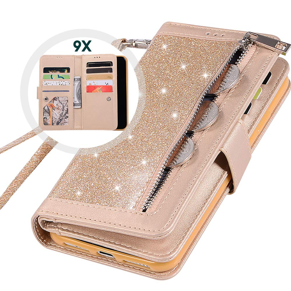 iPhone 11 PRO MAX Wallet Case with Strap for Women,Auker Girly Bling Glitter Leather Trifold 9 Card Holder Sparkly Protective Flip Magnetic Folding Stand Purse Case with Wallet/Money Pocket (Gold)