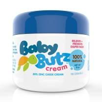 Baby Butz Diaper Rash Cream,100% Natural, Zinc Oxide Barrier Paste, Prevents, Relieves and Treats Diaper Rash, 8 oz