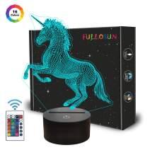 FULLOSUN Unicorn 3D Night Light, Decorative LED Bedside Table Lamp for Kids Room Xmas Birthday Gifts for Boys Girls Child