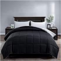 Satisomnia Lightweight Down Alternative Comforter Queen - Reversible All Season Quilted Bed Comforters Microfiber Duvet Insert with Corner Tabs Full Queen Size Black / Light Grey 90x90 Inch