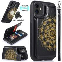 CASEOWL iPhone 11 Case,iPhone 11 Wallet Case with Card Holder,RFID Blocking,Kick Stand,Wrist Strap,Fit Magnetic Car Mount,Mandala Embossed Leather Back Flip Cover Case for iPhone 11(2019),Black