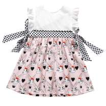 Toddler Baby Girls Easter Dresses Flutter Sleeve Rabbit Bunny Print Dress Outfit Summer Clothes