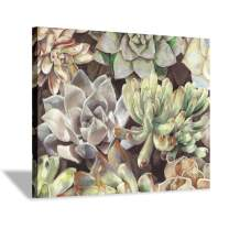 Floral Succulents Canvas Wall Art: Botanical Artwork Painting Print on Wrapped Canvas for Bedroom(24''x18'')