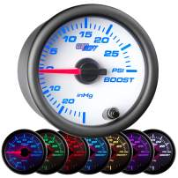"GlowShift White 7 Color 30 PSI Turbo Boost/Vacuum Gauge Kit - Includes Mechanical Hose & T-Fitting - White Dial - Clear Lens - for Car & Truck - 2-1/16"" 52mm"