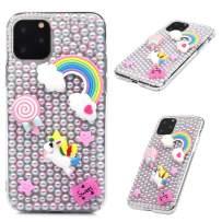 iPhone 11 Pro Case, Mavis's Diary 3D Handmade Luxury Bling Crystal Pink Pearl Rainbow Unicorn Colorful Shiny Crystal Diamond Glitter Rhinestone Gems Clear Hard PC Cover for iPhone 11 Pro