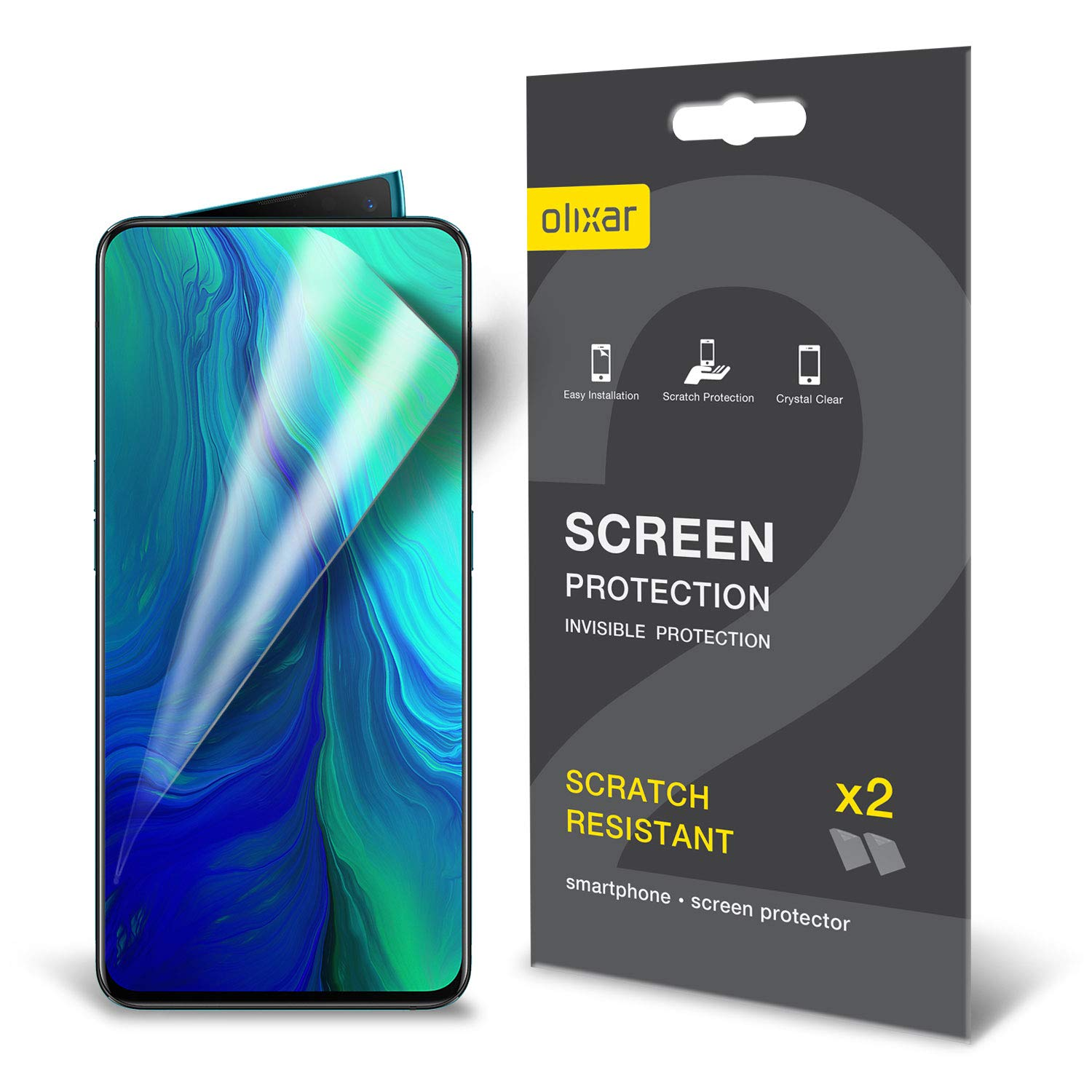 Olixar for Oppo Reno 10x Zoom Screen Protector - Film Protection - Case Friendly - Easy Application Card and Cleaning Cloth Included - 2 Pack