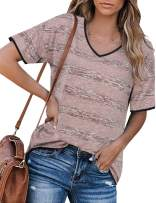 Messic Womens Casual Striped T-Shirt Short Sleeve V Neck Blouses Tops