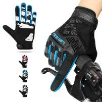 NICEWIN Motorcycle Cycling Gloves Full Finger Knuckles Protection Gel Pad Blue S
