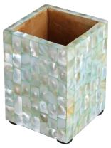 Handicrafts Home Pen Holder Mother of Pearl Artwork Office Desk Supplies Organizer Caddy Pencil Cup – Christmas Gifts [Green]