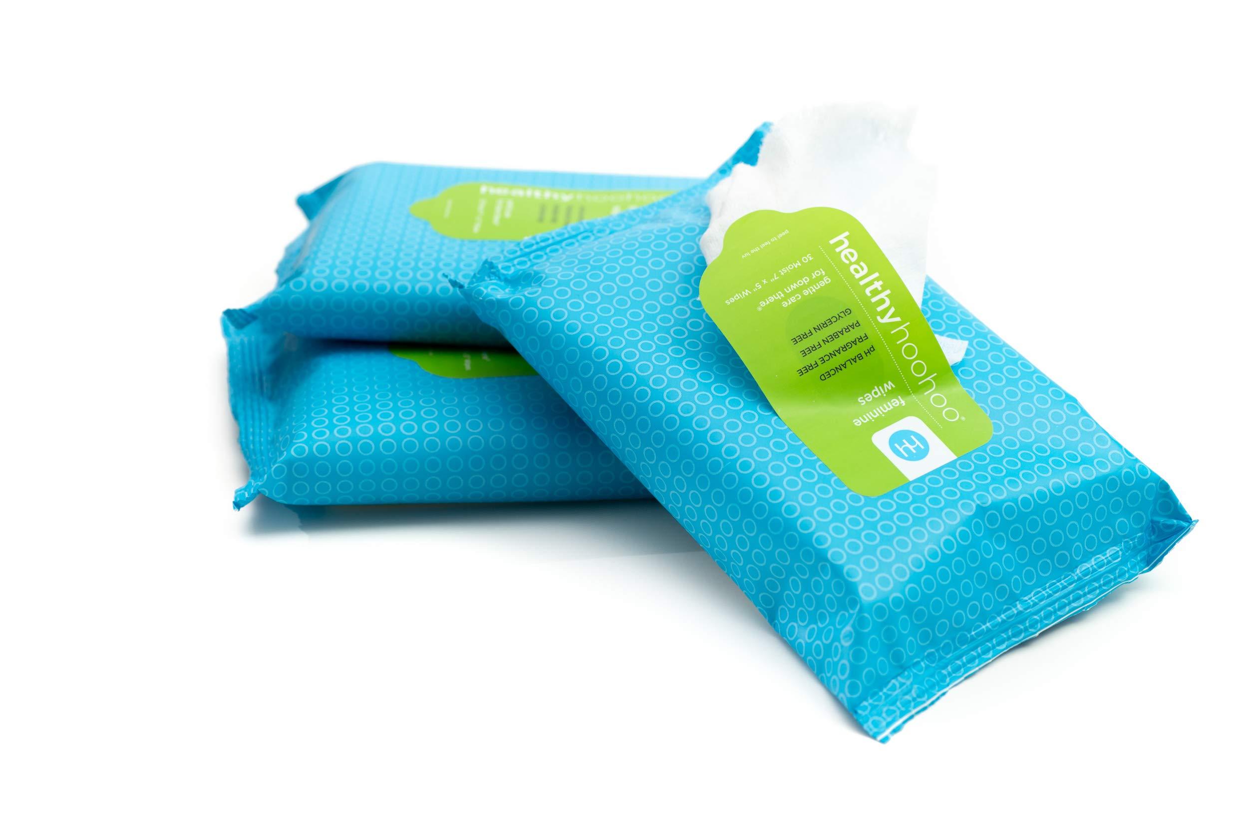 healthy hoohoo All Natural Gentle Feminine Wipes Multipack (3 Packs of 30 Wipes)