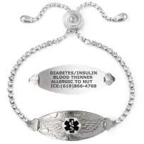 Divoti Bling-Bling Angel Wing Medical Alert Bracelet for Women w/Adjustable Crystal Chain & Free Engraving – Various Styles