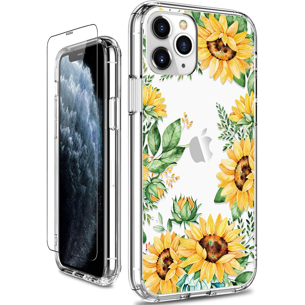 GiiKa iPhone 11 Pro Max Case with Screen Protector, Clear Shockproof Hard PC Case with TPU Bumper Heavy Duty Protective Floral Women Girls Cover Phone Case for iPhone 11 Pro Max, Yellow Sunflowers