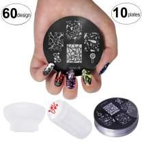 VAGA Nail Stamping Kits of 10PC Nail Art Set Stamping Plate and Nail Stamper Scraper Set/VAGA Manicure Kit Nail Kit has 60 Designs Patterns to Match all your Nail Polish and Stamping Polish Colors