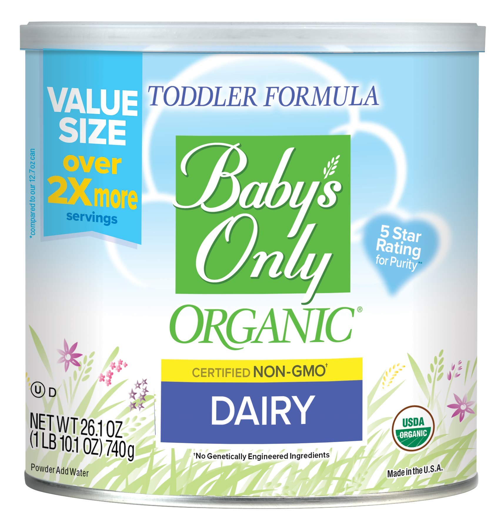 Baby's Only Organic Dairy Toddler Formula, 26.1 Oz (Pack of 6)   Non GMO   USDA Organic   Clean Label Project Verified   Value Size