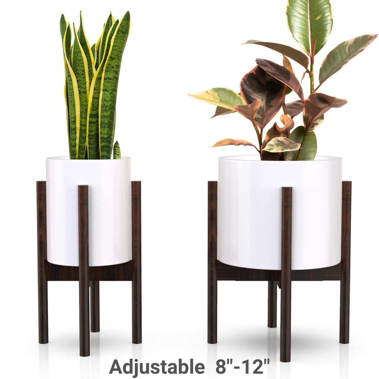 Mid Century Plant Stand - Non-Wobbly - Modern Indoor Plant Holder for House Plants, Home Decor - Wood - Fits Planter 8 to 12 Inches - Excludes Plant Pot (Dark Brown 1-Pack)