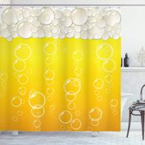 """Ambesonne Abstract Shower Curtain, Close up Bubbles and Beer Macro Alcohol Drink Refreshment Graphic Illustration, Cloth Fabric Bathroom Decor Set with Hooks, 75"""" Long, Yellow White"""