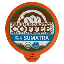 Fresh Roasted Coffee LLC, Swiss Water Decaf Organic Sumatra Coffee Pods, Medium Roast, Fair Trade, USDA Organic, Capsules Compatible with 1.0 & 2.0 Single-Serve Brewers, 36 Count