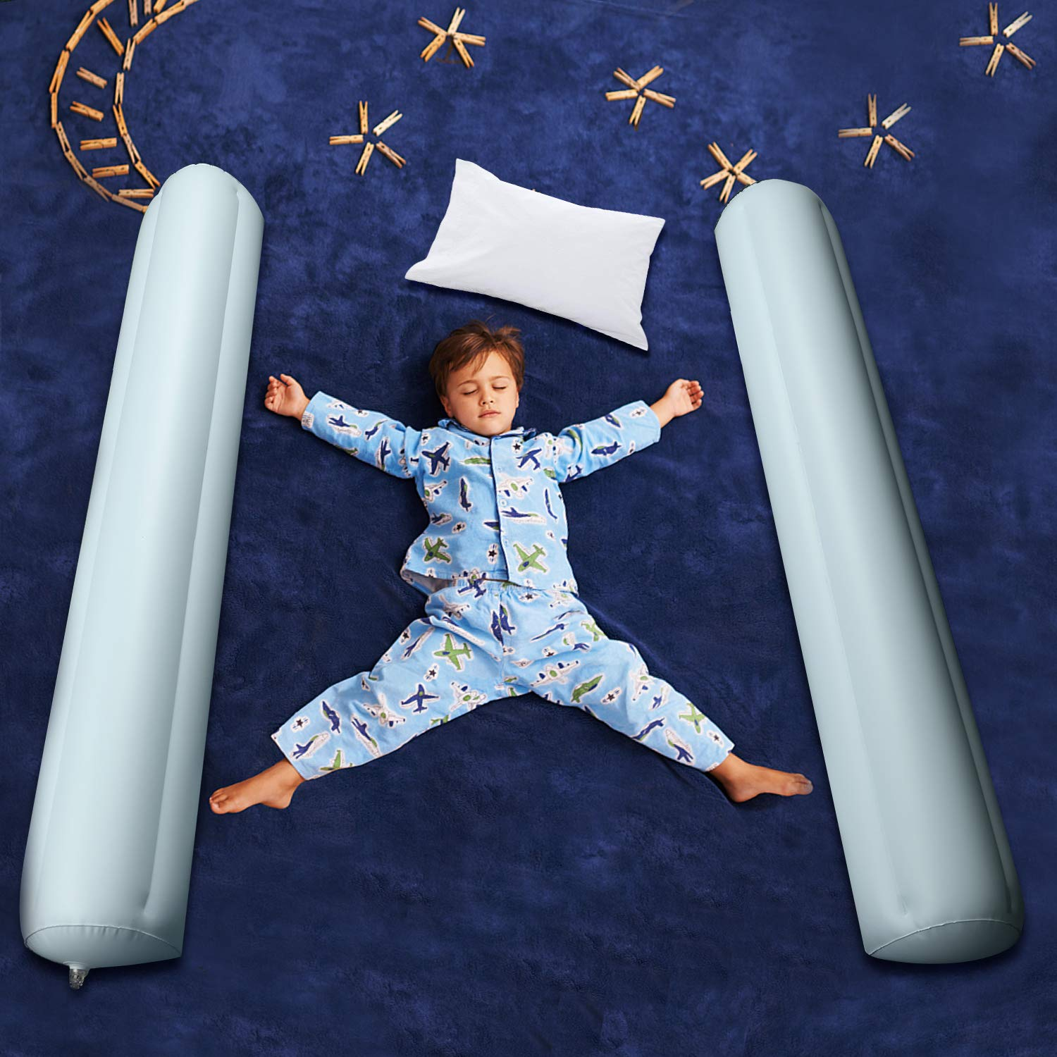 Inflatable Bed Rails for Toddlers, Carttiya Travel Toddler Bed Rail Bumpers Water-Proof & Leak-Proof Non-Slip, Portable Toddler Bed Rail Guard, 49 Inches' Long Double Rails for All Bed Sizes