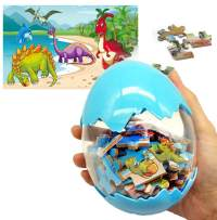 HAPTIME Big Dinosaur Egg with 60 Pieces Wooden Dinosaur Jigsaw Puzzle, Plastic Easter Eggs Toy, Surprise Gift, Party Favors for Kids Children Toddlers (Blue)
